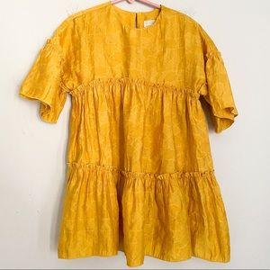 ZARA kid yellow tiered dress